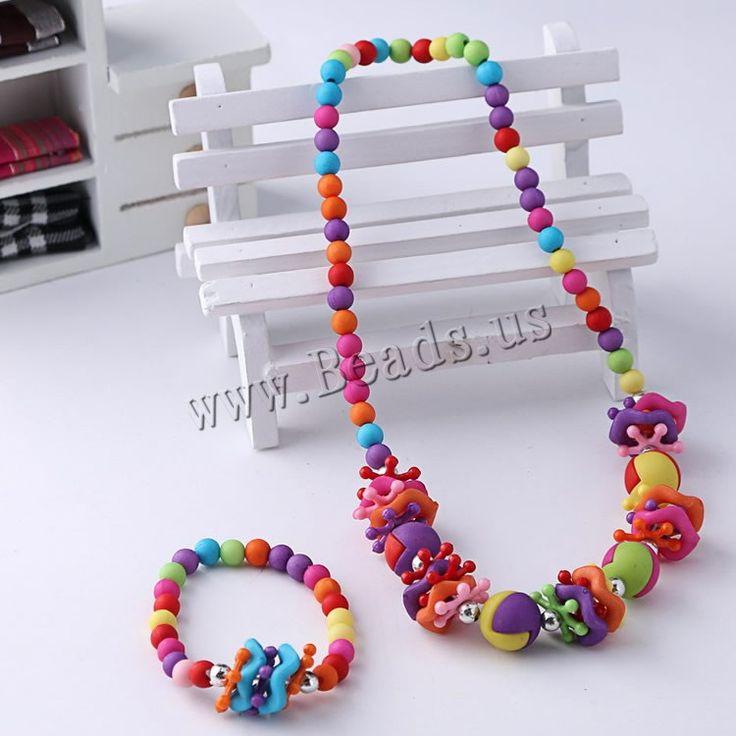 Sistema de la joyería de los niños, pulsera & collar, Acrílico, para los niños & color sólido, multicolor, 6-14mm, longitud:aproximado 15.5 Inch, aproximado 6 Inch, 12Setsset/Bolsa, Vendido por Bolsa,Abalorios de joyería por mayor de China