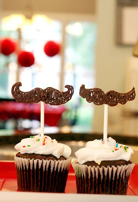Chocolate mustache cupcake toppers: Mustache Party, Cakes, Food, Birthday Idea, Whiskers, Mustache Cupcake, Party Idea, Father'S Day, Cupcake Toppers