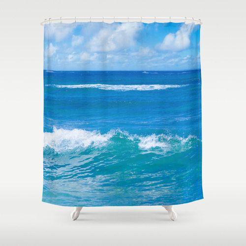 Blue ocean Shower Curtain, deep ocean blue, bathroom, sky, Tropical shower curtain, wave, Hawaii, sea shower curtain, home decor, 71x74 inch by Beachlovedecor on Etsy https://www.etsy.com/listing/205525972/blue-ocean-shower-curtain-deep-ocean