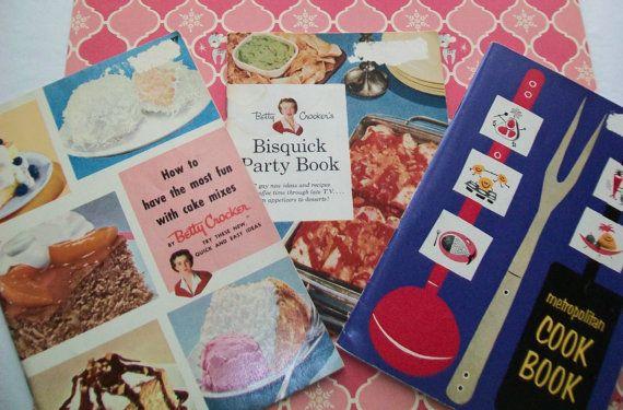 SALE - 3 Midcentury cookbooks, 1950s, Betty Crocker, Metropolitan, cook book, paperback