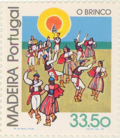 "1982 Portugal - Dancing couples. The ""brinco"" musical instrument"
