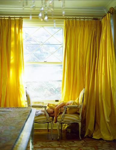 I loved this image. We all did. Yellow Curtains! I made this a reality in my apartment and I thank God daily that I did.