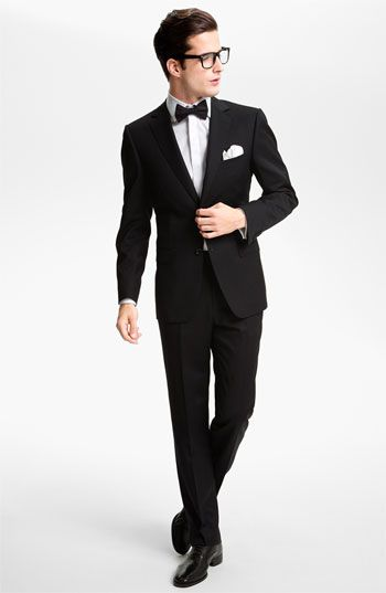 Z Zegna Wool Suit & BOSS Black Tuxedo Shirt available at #Nordstrom