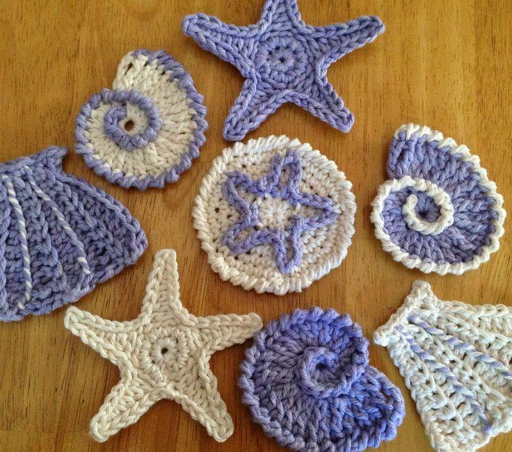 Seashell Motifs Free Patterns. http://dascrochetconnection.blogspot.com/p/sea-shell-garland.html