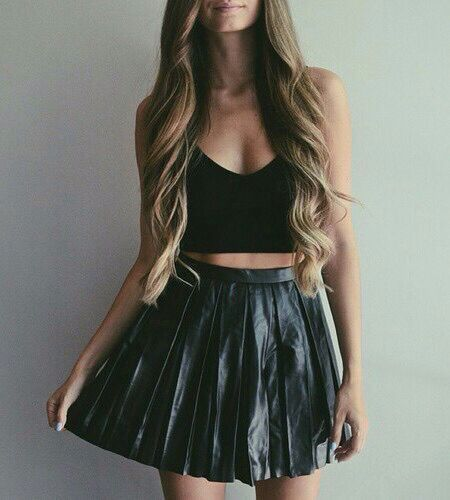 Black Crop Top and Black Skirt