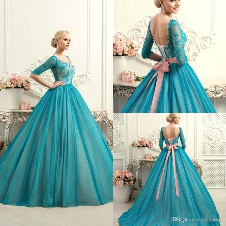 Modest Teal Quinceanera Dresses Square Neck Half Long Sleeves Lace Ball Gowns…