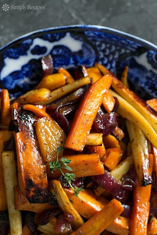 Beautiful roasted root vegetables—garnet yams, parsnips, carrots, beets—tossed in an apple cider vinaigrette and roasted until tender and caramelized. ~ SimplyRecipes.com