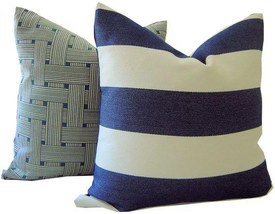 Navy Outdoor Pillow   Striped Navy Pillow   Outdoor Pillow   Decorative  Pillow   Sunbrella Pillow
