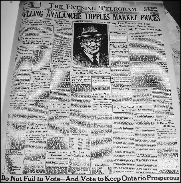 The Evening Telegram (Toronto), Tuesday, October 29, 1929    The start of the Great Depression.    Facsimile of an old newspaper front page, in: Golden Leaves from Canada's Past, 1867-1967, published by the Borough of Etobicoke's Centennial Committee, 1967.