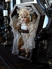 "Vintage Devil Baby in 20"" Wooden Coffin Primitive Folk Religion Macabre Goth"