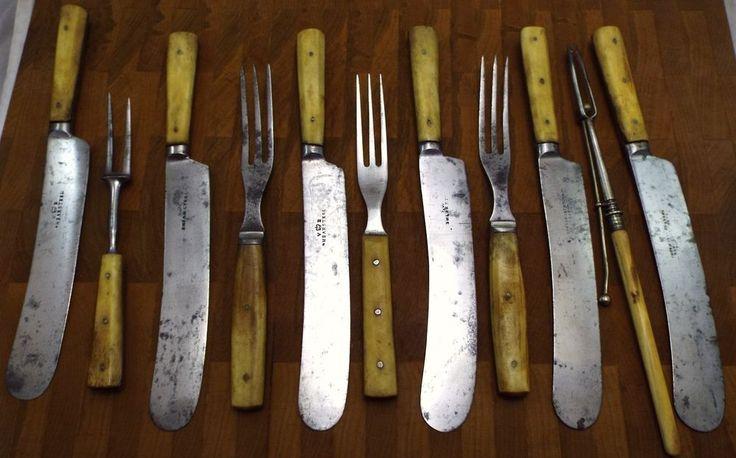 Civil War Era Bone handles Victorian Sheffield Cutlery LOT Knives 3 prong Forks  #Americana #Sheffield