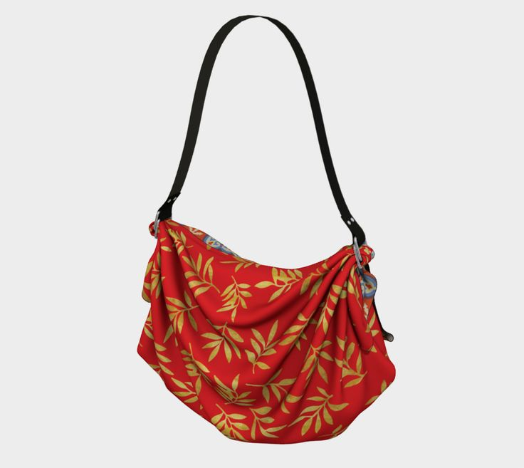 """Origami+Tote+""""RED+WEIMS+AND+GOLD+LEAVES+""""+by+BLU+WEIM+DESIGNS"""