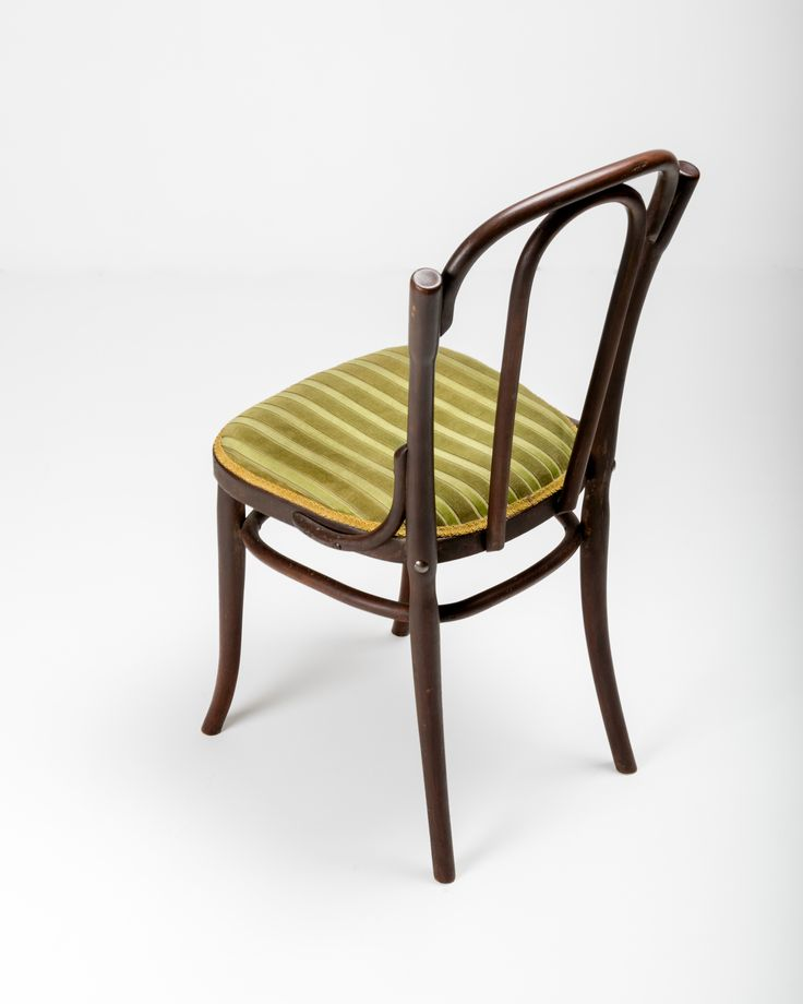 Immaculate bentwood oval shape tenon back bistro chair in dark walnut stain with moss green and apple green stripe velveteen upholstery seat bordered by gold brocade. Made by Jacob & Josef Kohn, Wien c1905. Paper Label attached