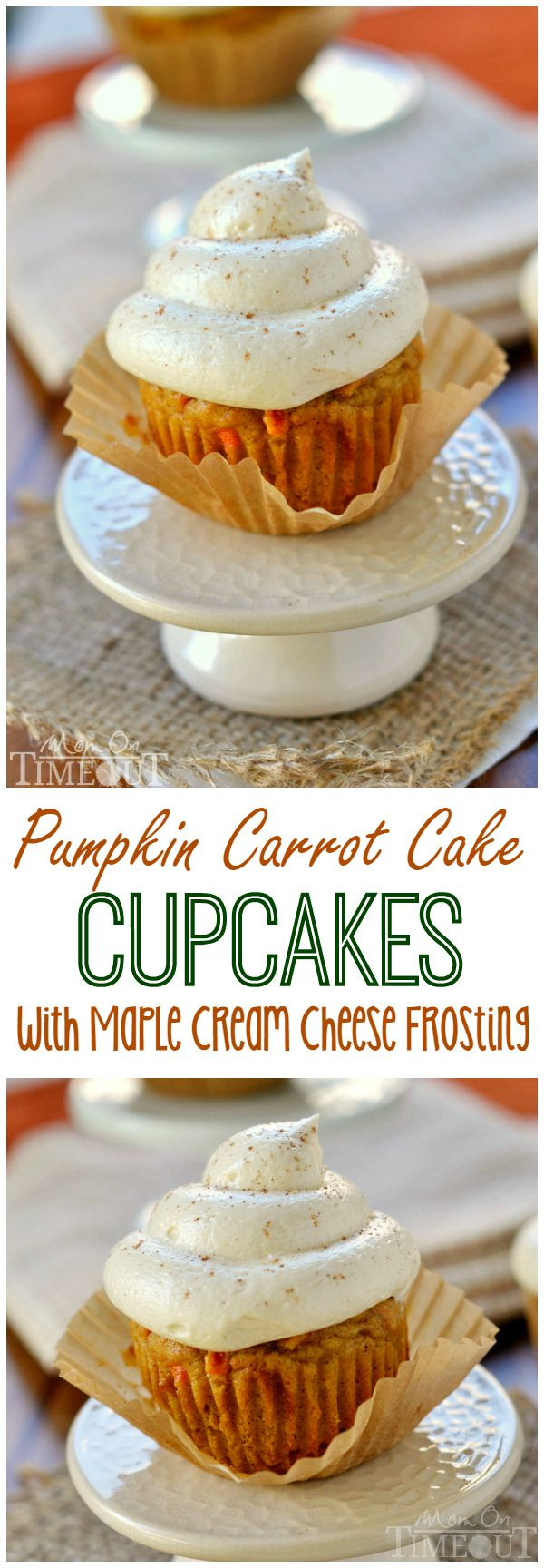 Pumpkin Carrot Cake Cupcakes with Maple Cream Cheese Frosting - Mom On Timeout #recipe #pumpkin #cupcake
