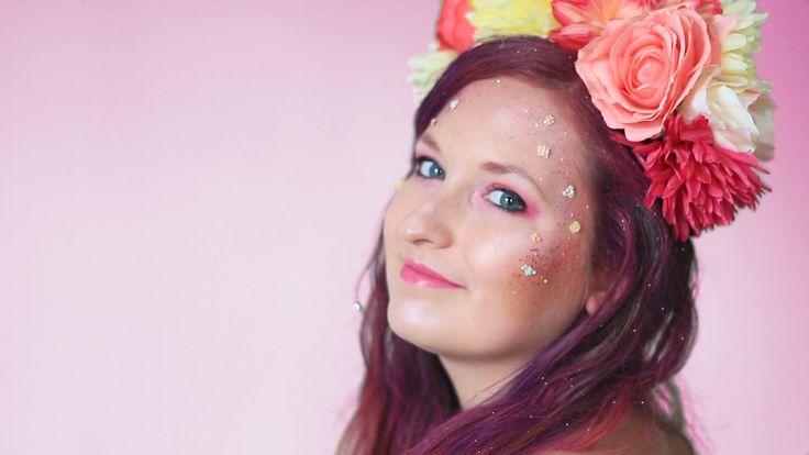 Flowers makeup tutorial, cute look, pink, red, white, halloween costume, diy, easy, idea