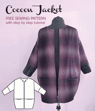 Cocoon Jacket - free sewing pattern for women from Sew Different. Super easy to make with a blog post to go with it packed for of ideas and inspiration - perfect for Autumn. Happy sewing!