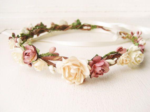 $68 Flower crown, Rustic wedding hair accessories, Bridal headpiece, Floral headband, Wreath, Pink, Ivory - MACAROON