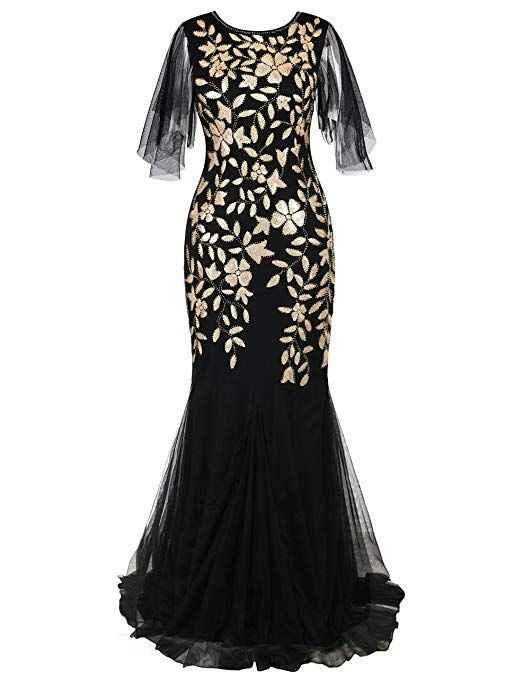 PrettyGuide Women s Evening Dress 1920s Sequin Mermaid Hem Maxi Long Formal  Ball Gown at Amazon Women s Clothing store  Matte Gold 38adc15bf