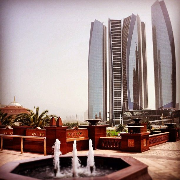 Skyscrapers. View from the Emirates Palace Hotel in Abu Dhabi, UAE. The Instacanvas gallery for dsm1972. Buy Instagram art from dsm1972 and photography.
