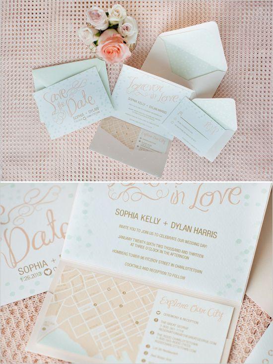 Romantic Mint, Peach And Gold Wedding Ideas