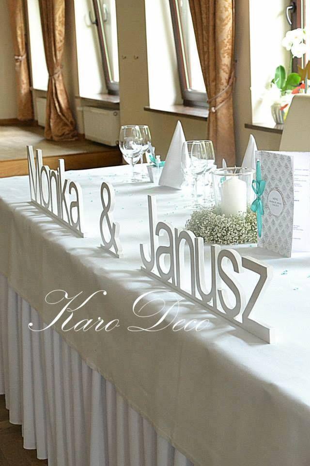 Napis na stół weselny Inscription for the bride and groom
