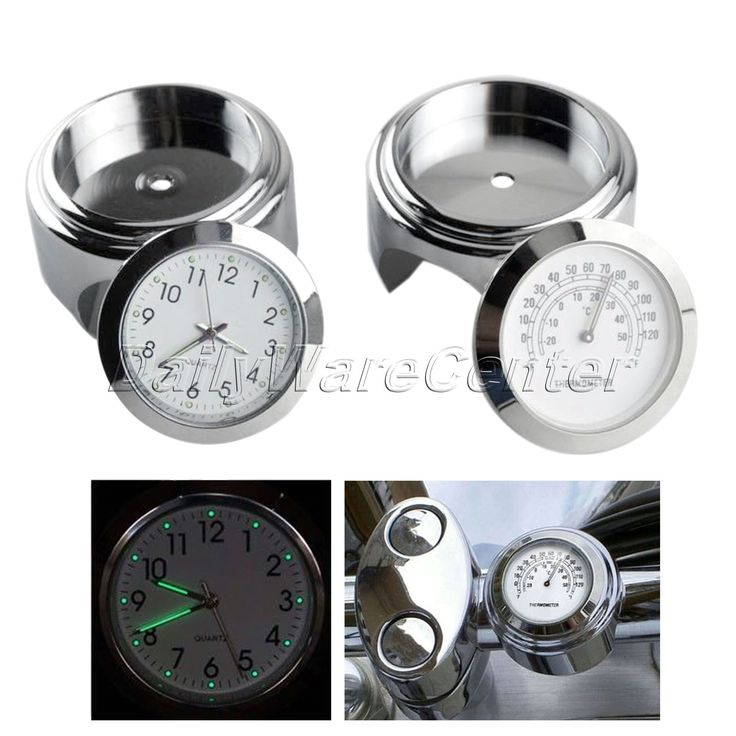 "7/8"" 1"" Waterproof Motorcycle White Handlebar Mount Dial Clock Watch+Temp Thermometer for Harley Yamaha MotorBike Accessories"