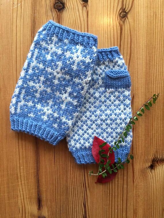 Hand Knitted Fair Isle  Fingerless Mittens in soft Merino