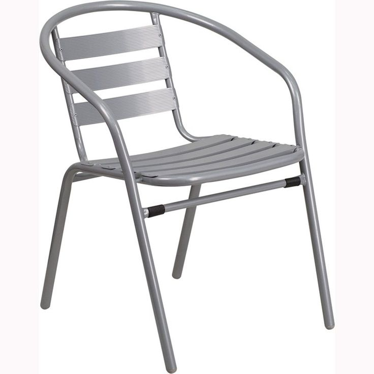Flash Furniture Metal Patio Dining Chair With Aluminum Slats Silver