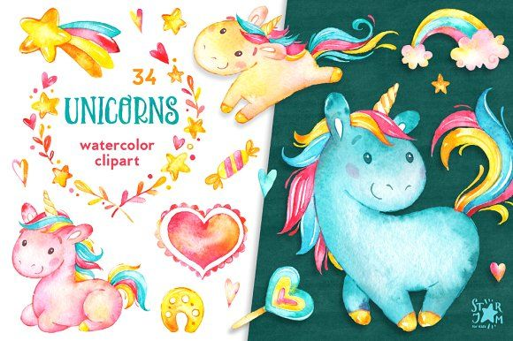 Watercolor clipart. This Watercolor Unicorn Collection is just what you needed for the perfect invitations, craft projects, paper products, party decorations, printable, greetings cards, posters, stationery, scrapbooking, stickers, t-shirts, baby clothes, web designs and much more.