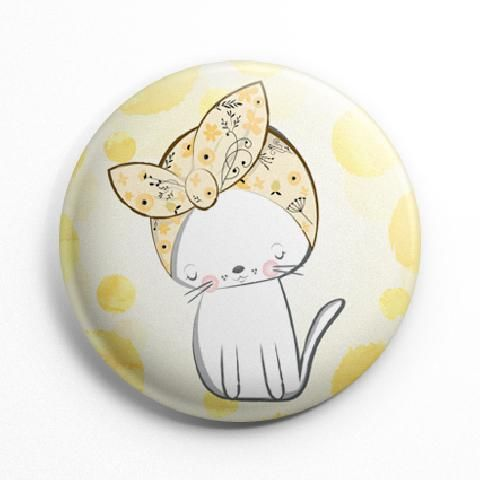 Fehér cica kitűző
