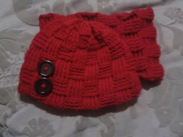 Gorro y cuello tejido a crochet con punto cesta