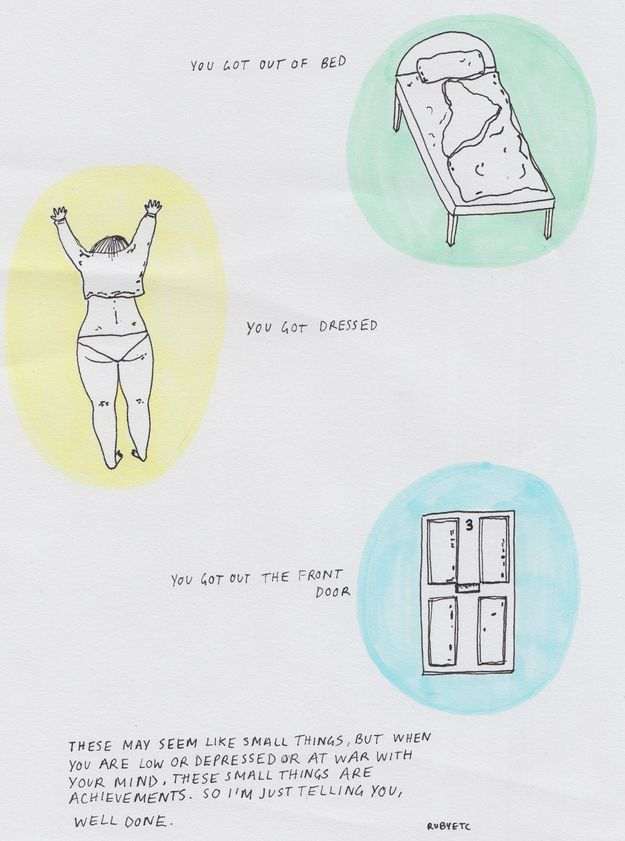 Celebrating the little things. | 21 Comics That Capture The Frustrations Of Depression