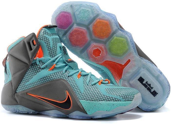 Nike Lebron 12 Kids Grey Green Orange New Release
