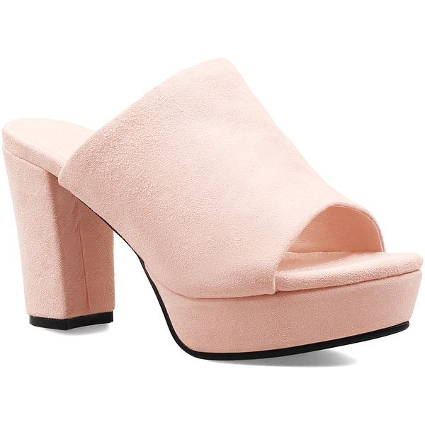 Jady Rose Peach Leather Platform Mule ($65) ❤ liked on Polyvore featuring shoes