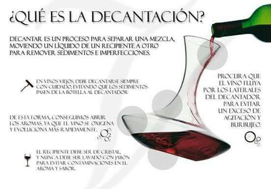 Decantación vino