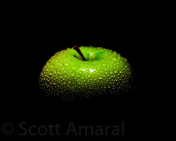 Green Apple - the thing I like about this image is that it is simple and how only the top of the apple is lit up.
