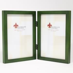 5x7 Hinged Double Green Wood Picture Frame - Gallery Collection | PhotoFrames.net
