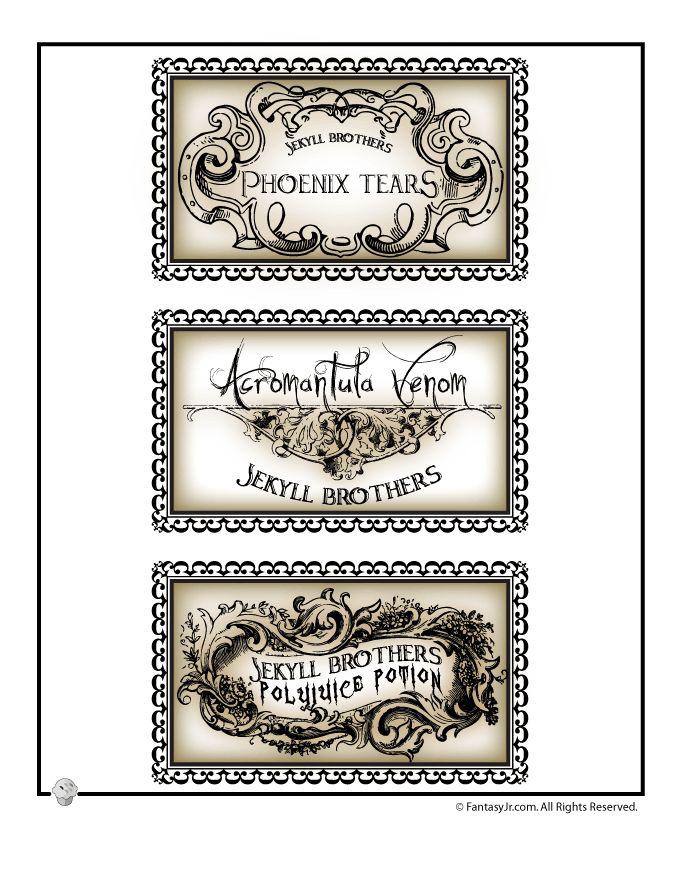 Printable Halloween Labels for Bottles and Potions Harry Potter Potions Lab Labels – Fantasy Jr.