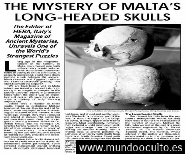 Encontrados en una estructura subterránea vestigios de una raza con cráneos alargados y baja estatura