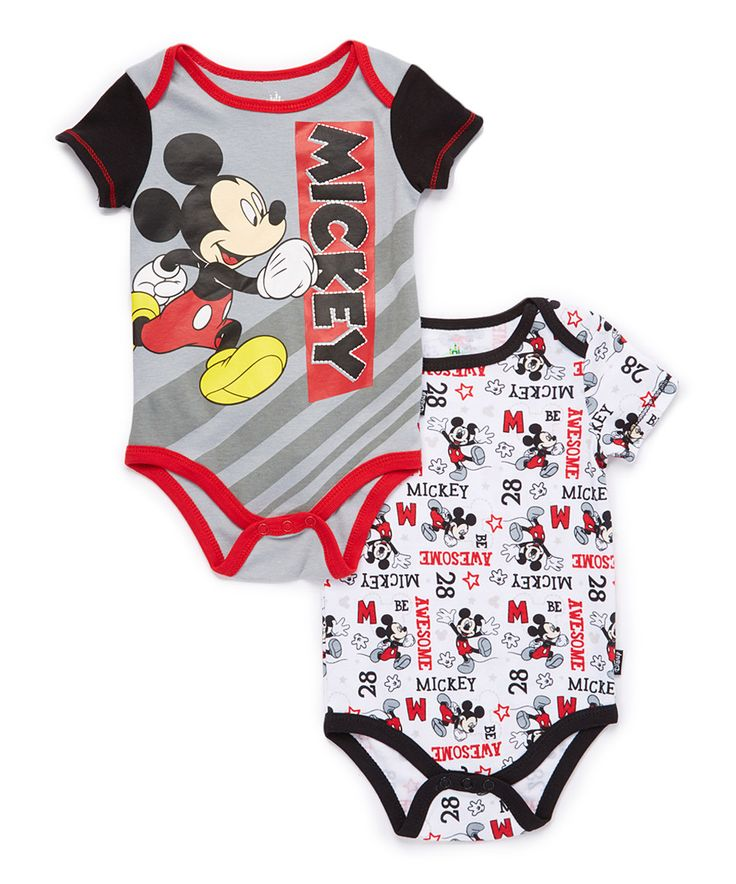 Take a look at this White & Gray 'Mickey' Bodysuit Set - Infant today!
