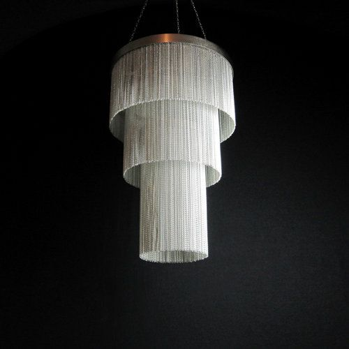 This Unusual Chain Chandelier Is Made Up Of Hundreds Of Individual Strands  Of Silver Chain,