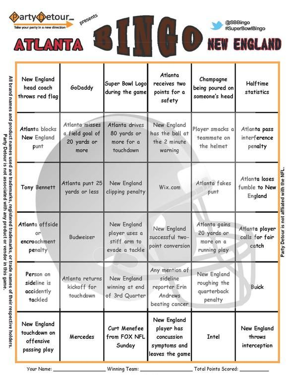Party Detour Super Bowl Bingo Games. Events from the Super Bowl and Commercials are included in the 6x6 game. Game comes with 10 or 50 unique cards. Print at home.