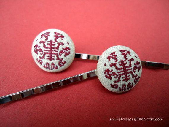 Fabric bobby pins Chinese longevity symbol door PrincessJillian
