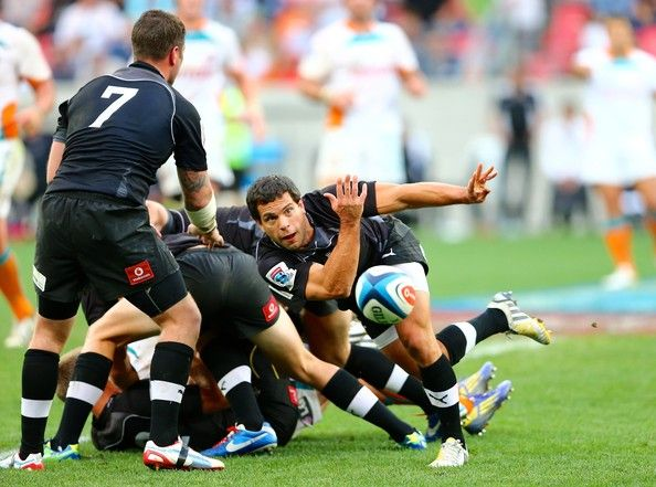 Nicolas Vergallo of the Southern Kings passes the ball during the Super Rugby match between Southern Kings and Toyota Cheetahs at Nelson Mandela Bay Stadium on May 25, 2013 in Port Elizabeth, South Africa.