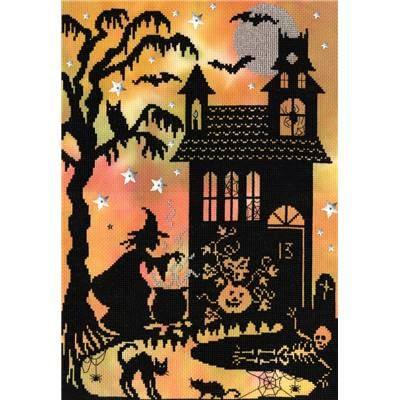 broderie pour halloween point de croix  pumpkin house