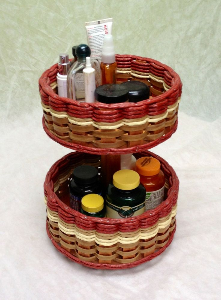 Small Double Lazy Susan Basket. One of our favorites in our bathroom! It can hold all of your face creams and lotions, perfumes, deodorant, medicines, or vitamins. And with the double decker you save space.