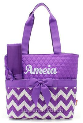 Diaper Bags for Girls | ... Diaper Bag For Girl or Boy - Quilted Chevron Diaper Bag Purple
