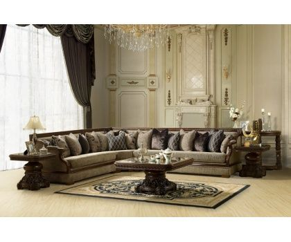 HDS  Victorian Royal Chenille Fabric Upholstered Sectional Sofa