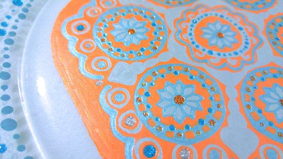 Dining Set, Orange Dinnerware, Blue Dishes, Mandala Plate, Mandalas, Housewarming Gift, Wedding Gift, Moroccan, Mediterranean, Dinner Set  A gorgeous Mandala design is the focal point of this pretty hand painted dinnerware set. The design features a variety of pigments including metallics and glitters that really make it sparkle and shine. These are stunning and would liven up the dinner table year round. This set will be the perfect addition to your wedding and would definitely make for a…