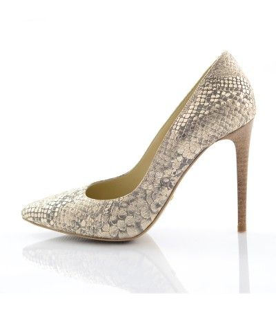 Pantofi stiletto sarpe auriu